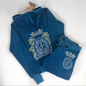 Juicy Couture Teal Blue Velour Track Suit
